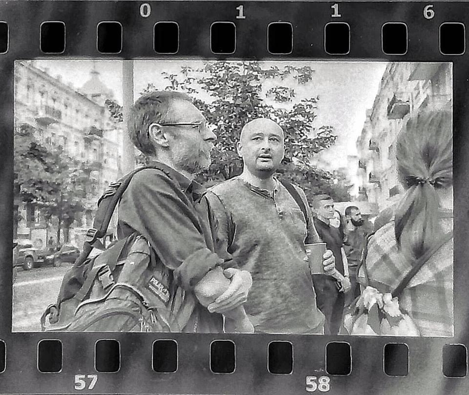 Сергей Бережной и Аркадий Бабченко на акции памяти Павла Шеремета. Фото Дмитрия Шишкина